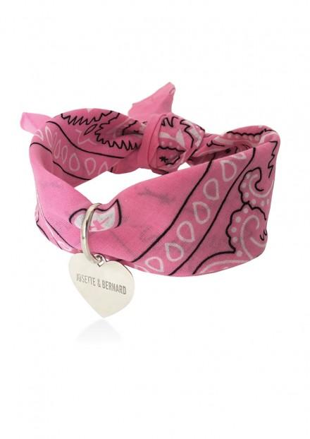 Amour | Bandana Choker - Médaille Argent 925 personnalisable | Rose