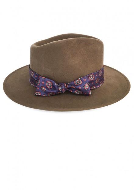 Camel Bellaire x Purple Vintage Silk Scarf